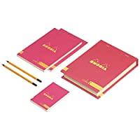 Rhodia ColoR プレミアム 宝箱 - A5 x 2 A6 プレミアム ColoR パッド x 1 + Rhodia Orange 鉛筆 x 2 7色展開 – ギフトに最適。 Lined ピンク