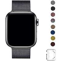 WFEAGL コンパチブル apple watch バンド, コンパチブル iWatch通用ベルト apple watch series 5/4/3/2/1に対応 交換ベルトステンレス製 (38mm 40mm, ブラック)