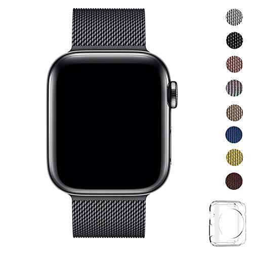 WFEAGL コンパチブル apple watch バンド, コンパチブルiWatch通用ベルト apple watch series 5/4/3/2/1に対応 交換ベルトステンレス製 (42mm 44mm, ブラック(黒))