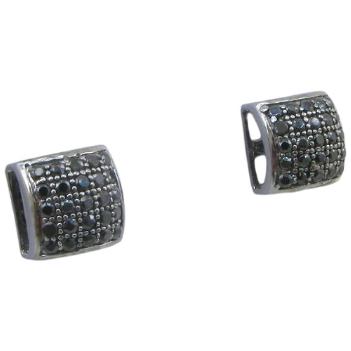 ブースト会議不幸メンズ。925スターリングシルバーブラック5行正方形イヤリングmlcz86 5 mm厚7 mm幅、サイズ