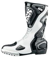 IXS: バイク用レザー レーシングブーツ 「VICTORY」 ホワイト/ブラック/シルバー