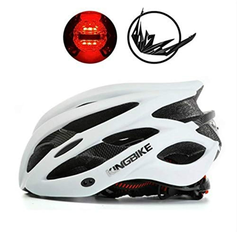 KINGBIKEウルトラライト専用バイクヘルメットリアライト付き+ポータブルシンプルバックパック+取り外し可能なバイザー用男性女性56-60 cm