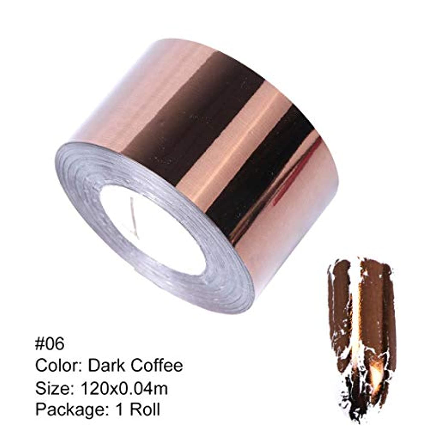 アーサー同等の二層SUKTI&XIAO ネイルステッカー 1ロールメタルネイルトランスファーフォイルマットゴールドシルバーネイルアートステッカーデカール、06ダークコーヒー