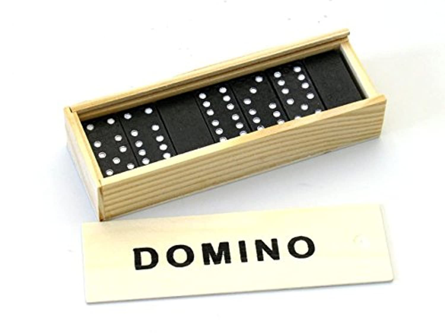 Double 6 Six, Mini Domino Dominoes with 28 Piece Stone Set Wooden Box Case Classic Fun Games for Gift - USA SELLER