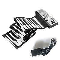 61キー電子ピアノキーボードシリコンフレキシブルロールアップデジタルピアノ128トーン子供のためのおもちゃ学習初心者教育玩具 - 白黒