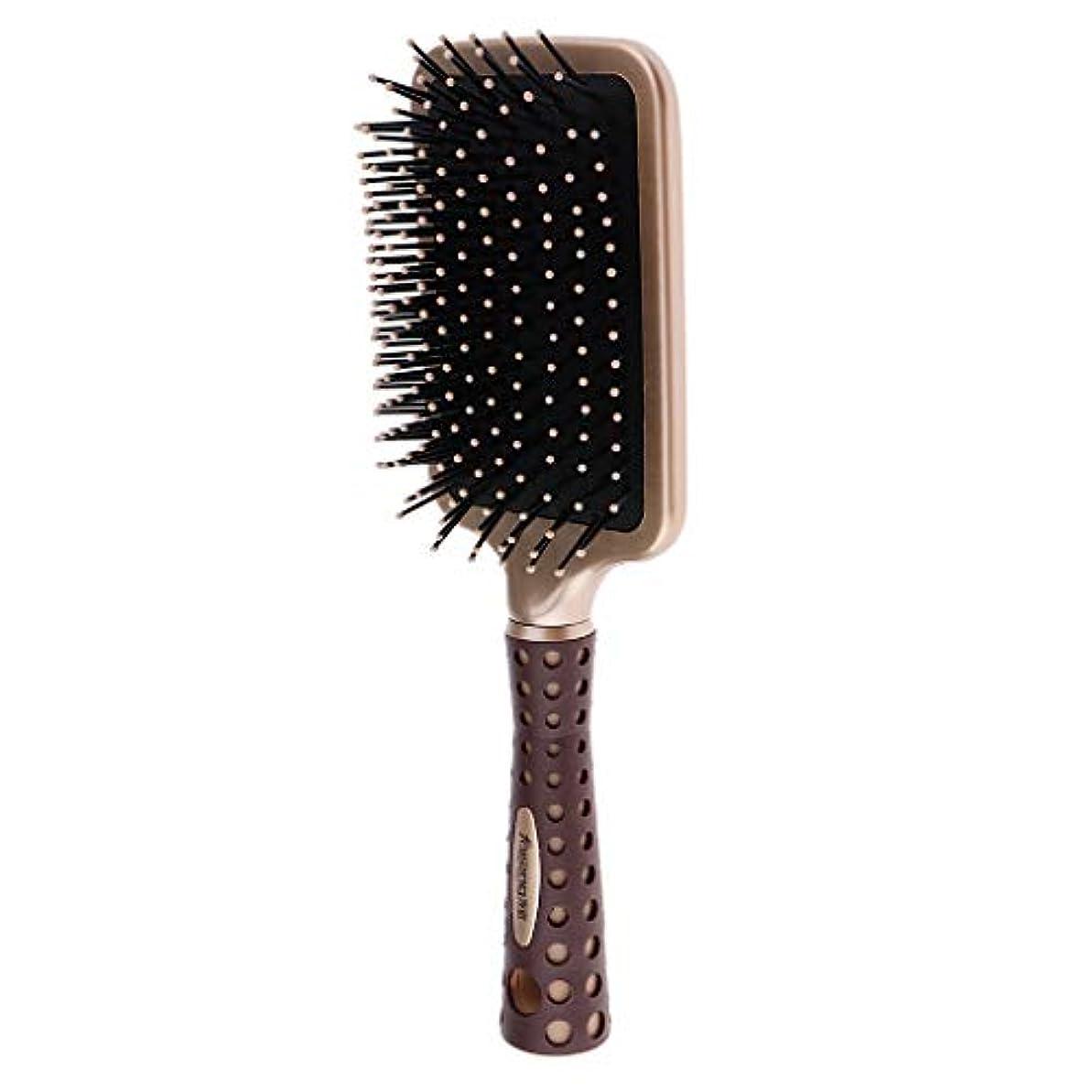 皮宣伝調整静電防止櫛 クッションヘアブラシ 頭皮マッサージ コーム 2サイズ選べ - L