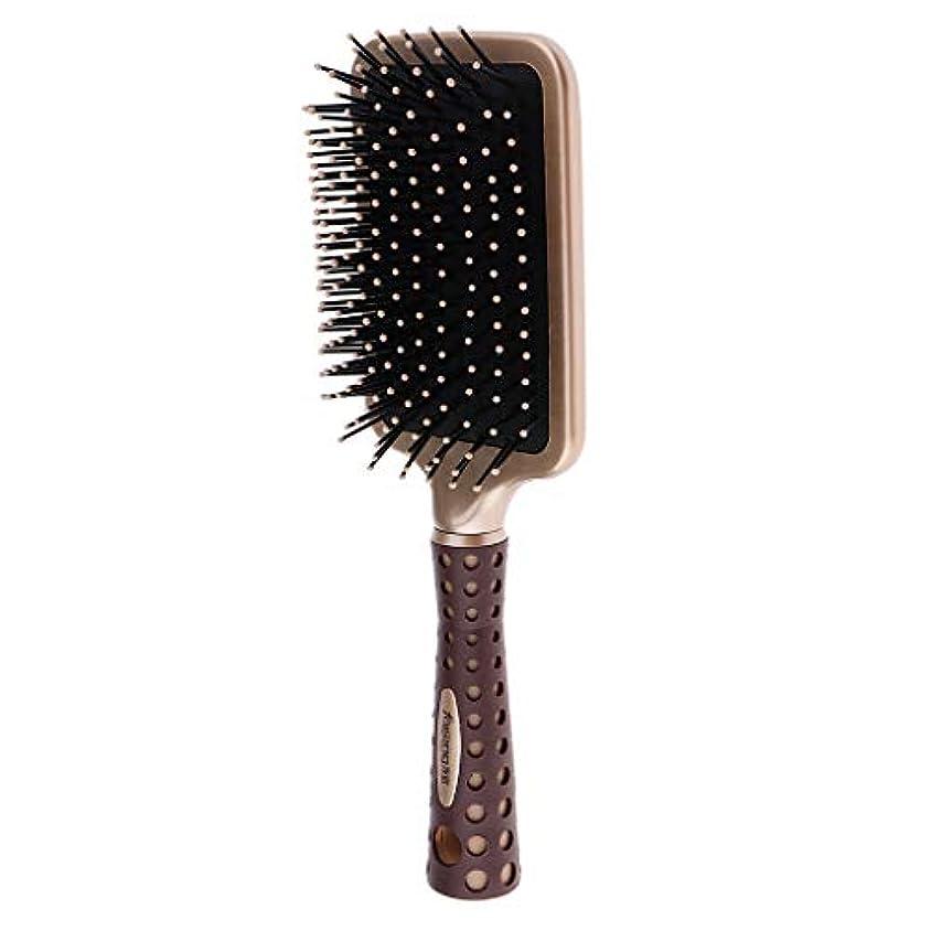 傘結論警察静電防止櫛 クッションヘアブラシ 頭皮マッサージ コーム 2サイズ選べ - L