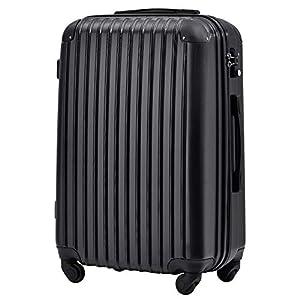 [トラベルハウス] Travelhouse スーツケース 超軽量 TSAロック搭載 国際的 半鏡面 人気色 ファスナータイプ 【一年安心保証】(24色4サイズ対応) (L, ブラック)