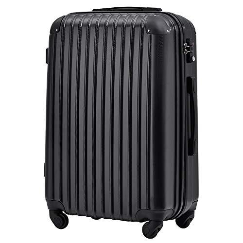 [トラベルハウス] Travelhouse スーツケース 超軽量 TSAロック搭載 国際的 半鏡面 人気色 ファスナータイプ 【一年安心保証】(24色4サイズ対応) (Mサイズ(57L/4-7宿泊), ブラック)