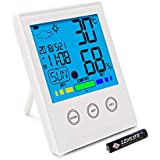 Digital Hygrometer, Humidity Gauge Indicator with Backlight, Digital Indoor Thermometer Humidity Monitor with Alarm Clock, Humidity Temperature Smart Sensor Used for Home, Office, Kitchen,Greenhouse