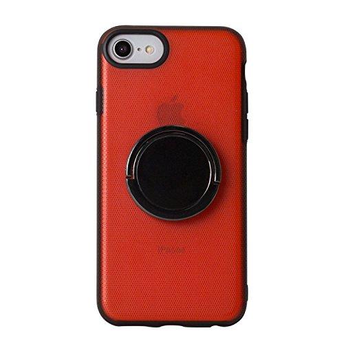 BEGALO iPhone8/7 ハンドスピナー 指スピナー バンカーリング付 ケース 落下防止 360度回転 スタンド ストレス解消 レッド HDSP-IP8-RED133