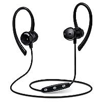 AIKAQI インナーイヤー Bluetooth4.1 イヤホン ワイヤレス Earpods型 高音質 CSR対応 マグネット搭載 DSPノイズキャンセル IPX5防水 スポーツ ブルートゥース ヘッドホン iphone android対応 B03 ブラック