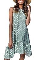 WE&energy 女性フライドレスポルカドットプリントは、ノースリーブミディスカートドレス Green XL