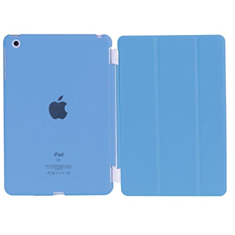 意志に反する祖先除去iPad mini3 / iPad mini2 / iPad mini 超薄型 スタンド仕様 マグネット スマート式 レザー ケース カバー と半透明プラスティック製 バックケース 液晶保護フィルム付き ブルー