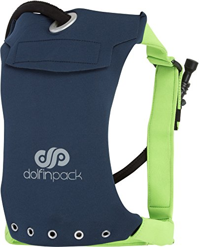 DolfinPack ハイドレーション パック 超軽量 フォーム フィッティング 1.5 リットル リザーバー 100% 防水 エクストリームスポーツ(ランニング、登山、ウォータースポーツ、自転車) (Navy/Lime)