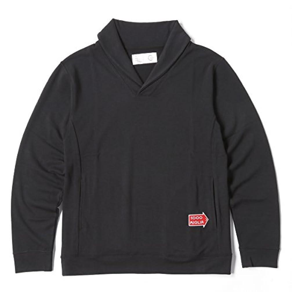 請求可能かかわらずインタフェースMille Miglia(ミッレ ミリア)ショールカラー 鹿の子織りのオシャレなショールカラー長袖シャツ ブラック Sサイズ