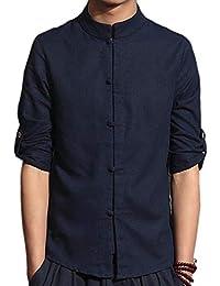 chenshiba-JP メンズスタンドカラーロングスリーブリネン中国スタイルドレスワークシャツ