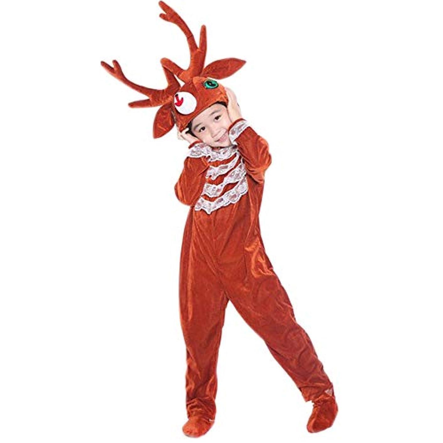 役割バイナリ派手トナカイ キッズコスチューム 子とも 着ぐるみ クリスマス 衣装 ボーイズ ガールズ かわいい 仮装 クリスマス衣類 祭り雰囲気