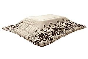 イケヒコ こたつ布団 正方形 掛け 単品 モダン リーフ柄 『シエナ』 ベージュ 約205×205cm(厚掛けタイプ)