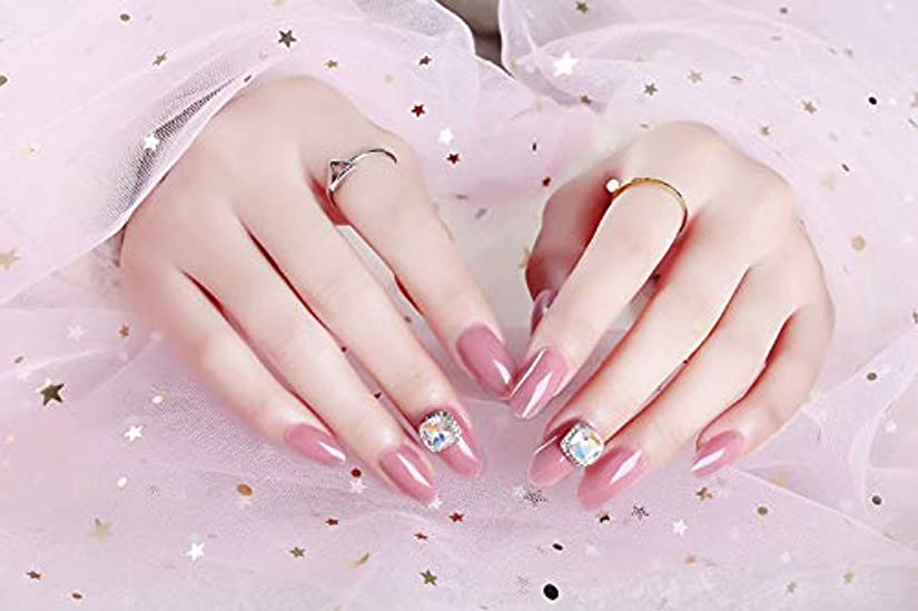 単位ストリップ乱用ネイルアートを着用する 24枚入 高品質 ジュエリーインレイ 人工ダイヤモンド 輝く エレガント 中位の長さ 手作りネイルチップ ネイル花嫁 (ピンク)