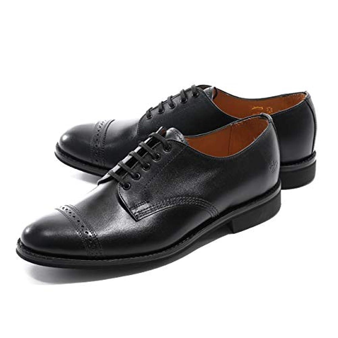 達成するバーベキューヒールSanders サンダース 1129BC Military Punched Cap Derby Calf ドレスシューズ 革靴 オックスフォード ストレートチップ カラーBlack メンズ