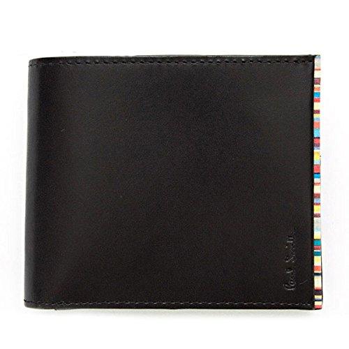 (ポールスミス) Paul Smith 正規品 財布 二つ折り財布 メンズ レザー 本革 ブラック(黒)×マルチストライプ PSU055-990