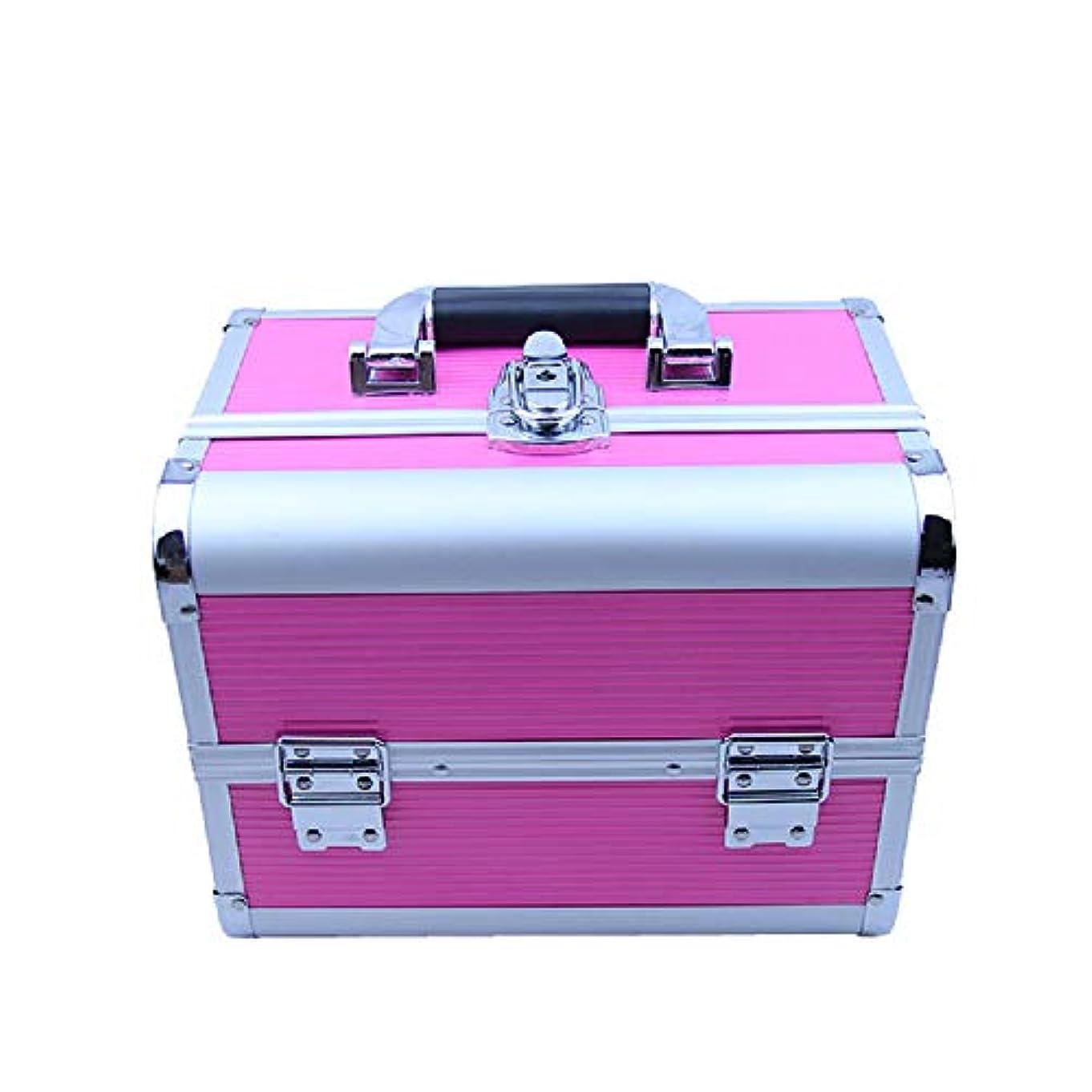 化粧オーガナイザーバッグ メイクアップトレインケースポータブル化粧オーガナイザー丈夫なアルミフレームロックと折り畳みトレイ 化粧品ケース