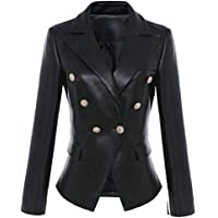 Macondoo Women Faux Leather Slim Fit Blazer Notch Lapel Suit Coat Jackets