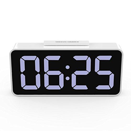 目覚まし時計 - ATiC USB給電 デジタルLED 置き時計/目覚まし時計 (USBケーブル付き) WHITE