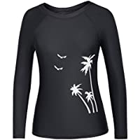 Women's Printed Long Raglan Sleeves Rash Guard Swimwear Athletic Tops T-Shirt Tops