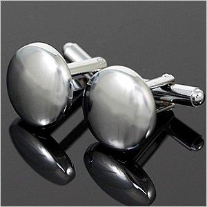シンプル スタンダード シルバーカラー ラウンド 鏡面 カフスボタン(カフリンクス) メンズ アクセサリー ワイシャツ ネクタイに合わせてビジネスや結婚式、プレゼントに [おしゃれ][スーツ][ギフト][タイピン]