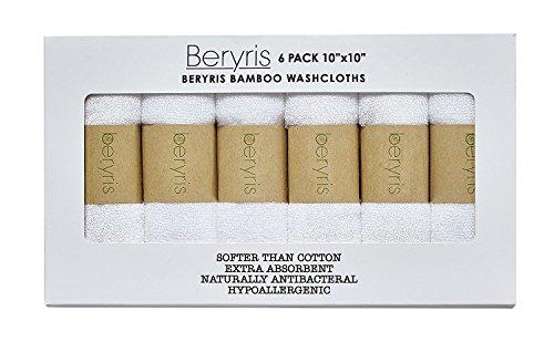 beryrisフェイスタオル 6枚セット 竹繊維 ベビー 大人 敏感肌 タオル 柔らかく吸水力良い 25x25cm ホワイト (ホワイト)