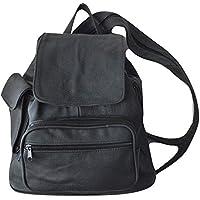 Genuine Leather BLACK Backpack Womens Purse Shoulder Bag Sling bag