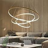 Modern LED Pendant Light, Dining Table 3-Ring Hanging Lamp Living Room Ceiling Lamp Bedroom Chandelier (Gold) Stepless dimming 20+40+60CM