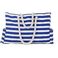 Beach Bag Fashion Blue White Stripe Beach Tote Bag Handbag Built-in Key Holder Bottle Opener with Waterproof Phone Case for Ladies Women Girl