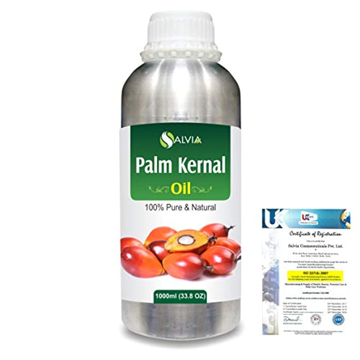 堂々たる青日常的にPalm Kernel (Elaeis guineensis)100% Natural Pure Carrier Oil 1000ml/33.8fl.oz.