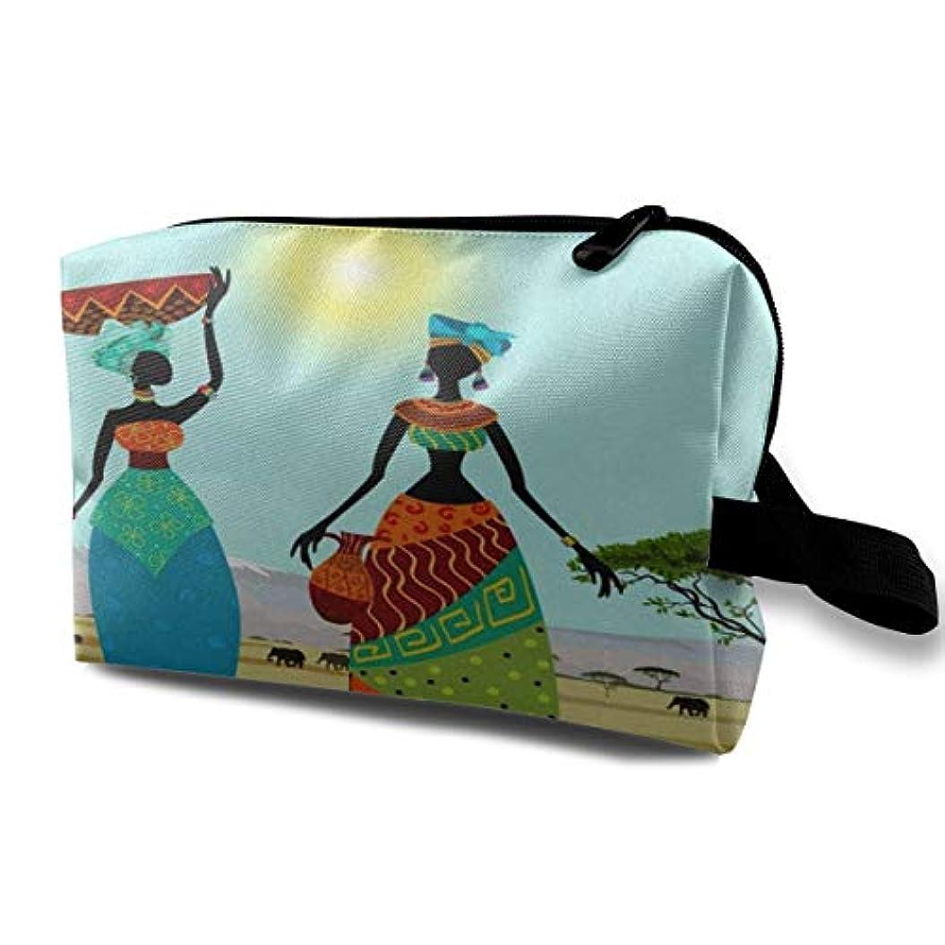 ディベート見通しテーブルAfrican Women In Mountain Landscape 収納ポーチ 化粧ポーチ 大容量 軽量 耐久性 ハンドル付持ち運び便利。入れ 自宅・出張・旅行・アウトドア撮影などに対応。メンズ レディース トラベルグッズ
