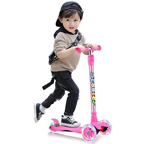 GOOGO キッズ スクーター 3輪 キックスクーター 子供用 キックボード 4段階調節可能 LED 光るホイール ブレーキ付き 対象年齢3歳以上 ギフトに最適(ピンク)