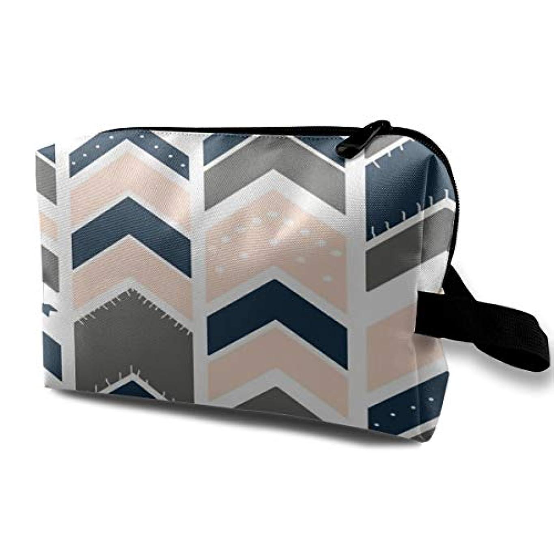 無条件平凡クランプArrows Blush Gray Navy 収納ポーチ 化粧ポーチ 大容量 軽量 耐久性 ハンドル付持ち運び便利。入れ 自宅?出張?旅行?アウトドア撮影などに対応。メンズ レディース トラベルグッズ