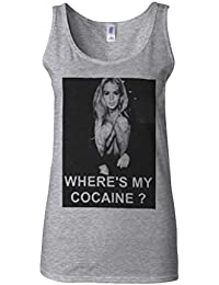 Where is My Cocaine Night Out Novelty Sports Grey Women Vest Tank Top-XXL
