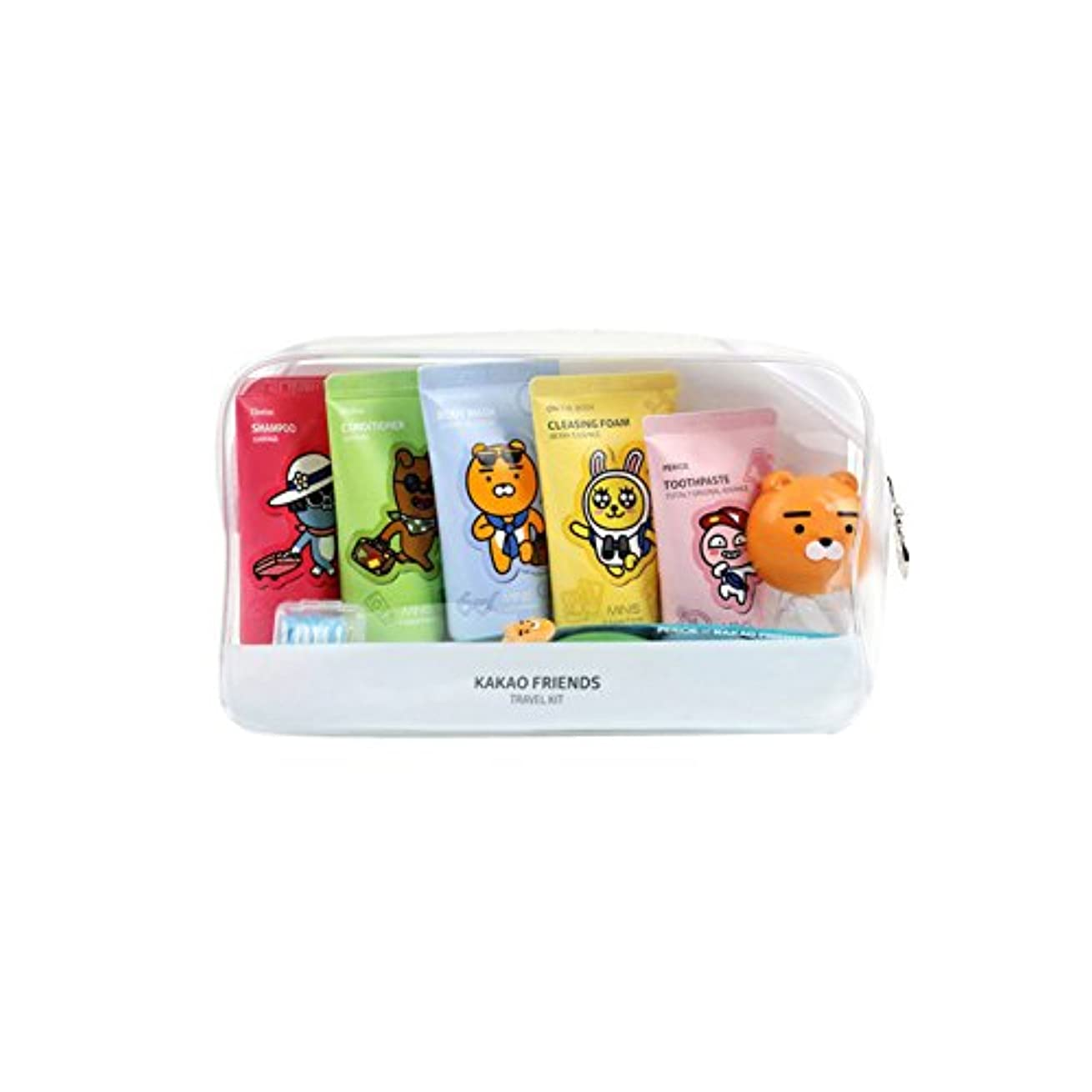 KAKAO Friends Convenience Travel Kit 7 Piece Shampoo,Conditioner,Body Wash,Cleansing Foam,Tooth Paste,Tooth Brush...