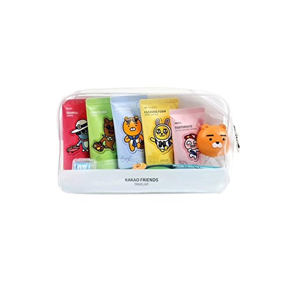 山伝導製油所KAKAO Friends Convenience Travel Kit 7 Piece Shampoo,Conditioner,Body Wash,Cleansing Foam,Tooth Paste,Tooth Brush...