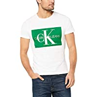 Calvin Klein Jeans Men's Monogram Box Logo Slim T-Shirt, Bright White/Green, M