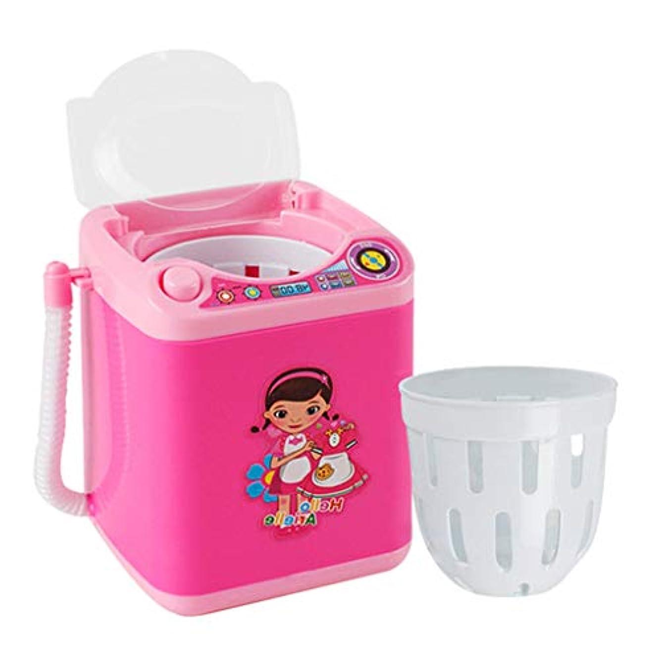 子供っぽいコンプライアンス食事を調理する化粧ブラシクリーナー装置 自動化粧ブラシクリーナー 化粧収納ボックス 洗濯機ミニ玩具 (ピンク)