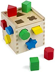 Melissa & Doug Shape Sorting Cube - Classic Wooden Toy With 12 Sh