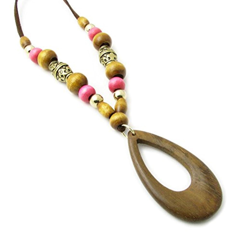 ネックレス 木目が美しい天然素材のレザー ウッド 木製 kn29056 (ピンクのウッドビーズ)