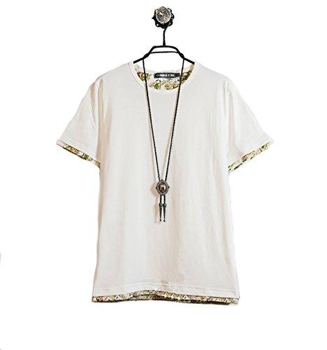 (Make 2 Be) クルーネック レイヤード Tシャツ メンズ ノームコア 半袖 MF49 (04.Bota_White_3XL)