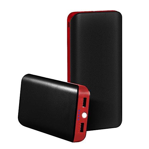 GRDE 25000mAh 2ポート 超大容量モバイルバッテリー 携帯充電器iPhone6 6Plus 5S 5C 5 4S 4 、iPad 、 Xperia 、Galaxy 、 Android旅行必需品 (ブラックとレッド)