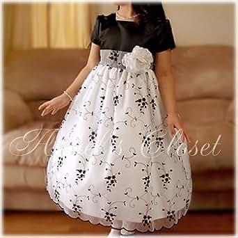 (エンジェルスクローゼット)Angel's Closet輸入子供ドレス ブラックサテン&花柄刺繍ホワイトオーガンジードレス(SK2773) 8T [ウェア&シューズ]