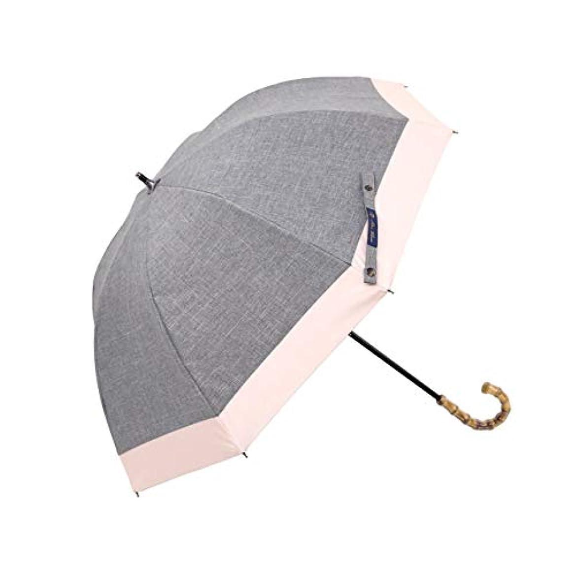 なめるファランクススマイル【Rose Blanc】100%完全遮光 日傘 晴雨兼用 コンビ ショートサイズ ダンガリー 50cm (ダンガリーグレー×ピンク)
